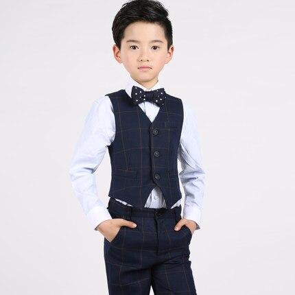 (Vest+shirt+bow tie+pants) Boy Clothes Suit Kid 4 Pcs Lattice Waistcoat Children Spring & Autumn Formal Clothing Set For Wedding