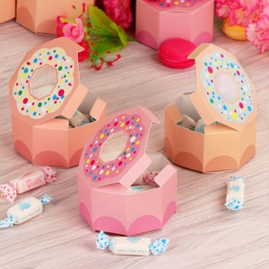 Image 4 - OurWarm 10Pcs Hexagon Donut Party Paper Candy Box for Baby Shower Gift Boxes Donut Theme Birthday Party Decorations Kids Favors