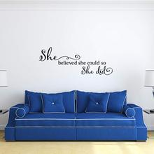 Beauty she believed could Wall Sticker Vinyl Art Home Decor For Kids Rooms Decoration Decal
