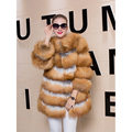 Women Genuine Fox Fur Coat Natural Fox Fur Jacket Genuine Fur Overcoat Female Thick Warm Fashion Trendy Luxury Real Fur Overcoat