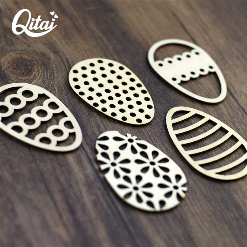 QITAI 60Pieces/lot 5 lovely Easter Eggs DIY Scrapbooking Products crafts nature wooden veneer shape the home decoration WF038 1
