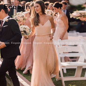 New 2020 Bridesmaid Dresses for Weddings Floor-Length V Neck Backless Simple Formal Women Party Gown vestido madrinha