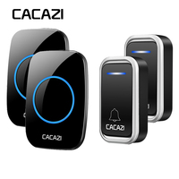 CACAZI Smart Wireless Doorbell Waterproof LED Intelligent Battery Button Remote 300M 38 Chime 3 Volume Calling Door Bell EU Plug