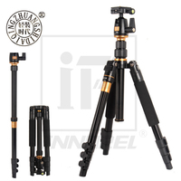 Beike QZSD Q555 Professional Aluminium Alloy Tripod Kit Monopod Ballhead Q.R.Plate For DSLR Camera Light Compact Portable Stand