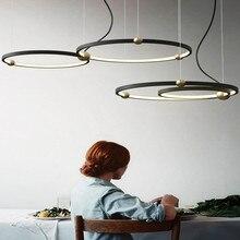 Noord europa Designer Led Hanglamp Creatieve Loft Cirkel Eetkamer Opknoping Lichten Retro Led Hotel Villa Deco Verlichting