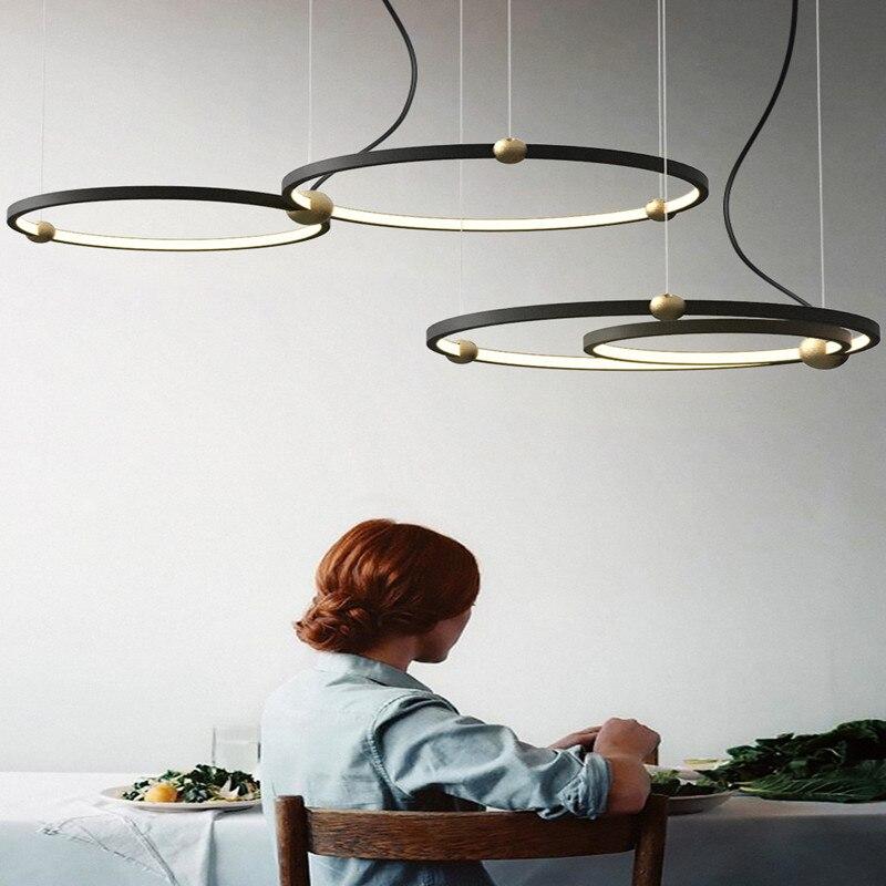 Northern Europe Designer Led Pendant Light Creative Loft Circle Dining Room Hanging Lights Retro Led Hotel Villa Deco Lights-in Pendant Lights from Lights & Lighting