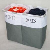 Foldable Storage Laundry Hamper Washing Bag Holder Baskets Light And Dark Label Dirty Clothes Organizer Hamper Tool