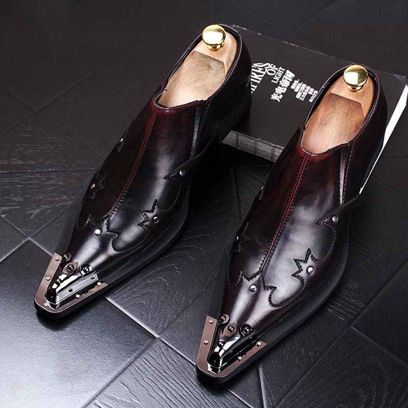 New men oxfords flats fashion genuine leather metal pointed toe slip on party dress shoes wedding flats rivets size:38-42 plus size 2016 new formal brand genuine leather high heels pointed toe oxfords punk rock men s wolf print flats shoes fpt314