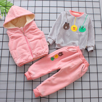2018 Kids Winter Clothes Girls Set Vest T Shirt Pants 3PS Kids Clothes Casual Solid Toddler Girls Tracksuit Children Clothing