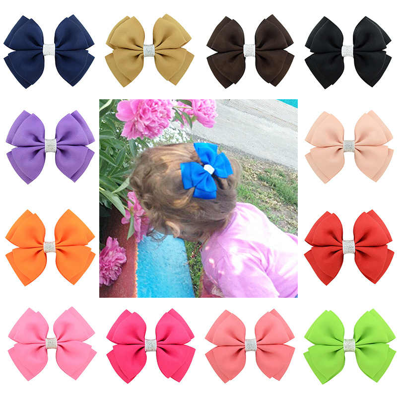 Ribbon Barrettes Clip Exquesite Unique Handmade Shining Bling Hair Bows Kids Girl Hair Accessories 20 Colors 1PC Graceful
