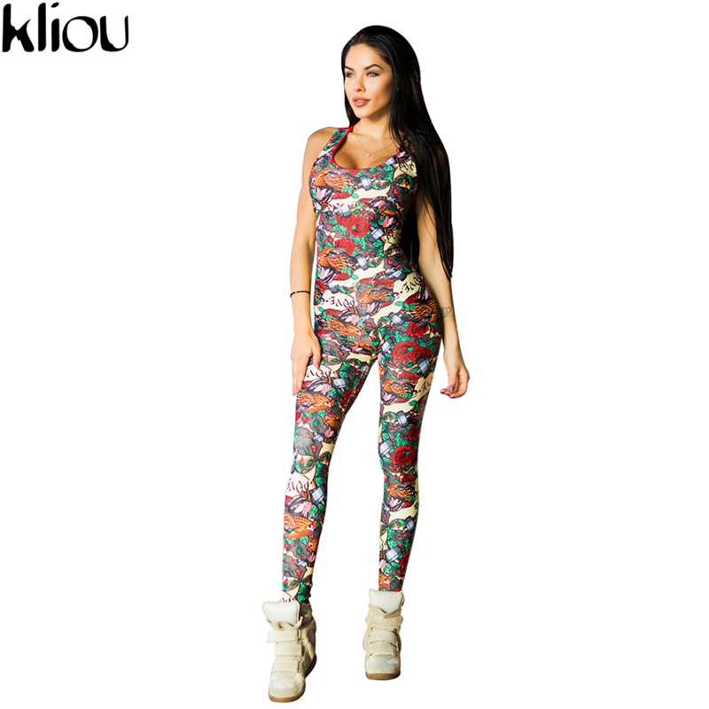 Kliou 2017  Sleeveless print Jumper Striped Bodysuit Overalls  Women Bodycon Jumpsuits and Rompers Casual Sporting Suits