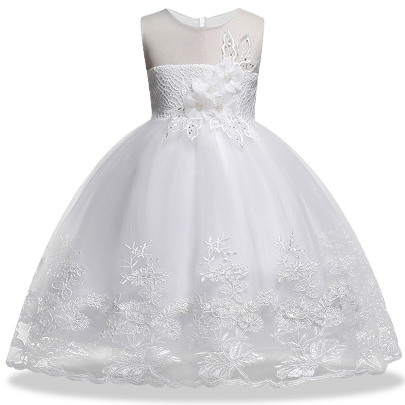 Mesh applique evening wedding   flower   lace   girl     dresses   for wedding   girls     dress   first communion princess   dress   baby tutu costume