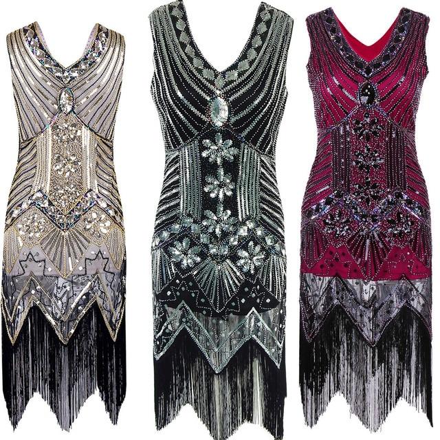 Sequin Beading Deep V Neck Fringed Flapper Retro Dress 1920s Great Gatsby  Bling Dress Black Party 637fd83a75e7