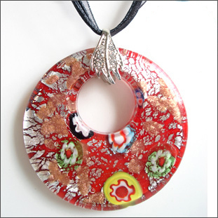 RED SNAKE Murano Glass Flowers Red Multi Color Point Round Pendant Necklaces