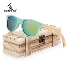 BOBO BIRD Bamboo Legs Men's Polarized Wood Holder Sun Glasses With Retail Wood Case Fashion Sunglasses for Men and Women 2017