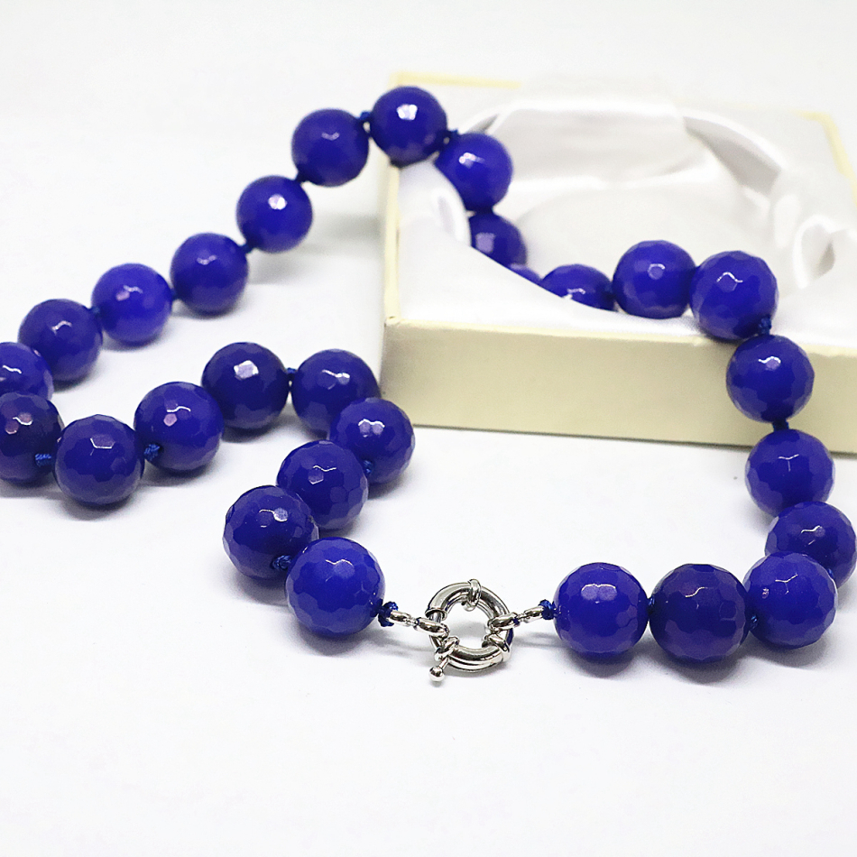 Free shipping blue lapis lazuli jade jasper faceted round beads 14mm pretty women fashion chain necklace jewelry 18inch B1504