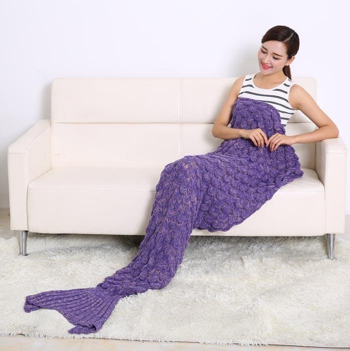Mermaid Tail Coperta In Pile Morbido Fatto A Mano A Maglia Lap Lancio Bed Wrap Fin Caldo Cocoon Costume Capretti Delle Ragazze Dei Bambini Sacco A Pelo - 5
