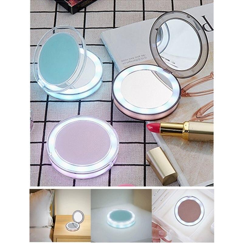 Led-leuchten Mini Make-up Spiegel 3x Vergrößerungs Compact Travel Tragbare Usb Aufladbare Sensing Beleuchtung Machen Up Spiegel #11