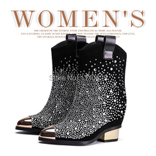 Free shipping autumn and winter fashion leather increased in Martin boots, Tip sleeve Diamond Black Mid-Calf women's Boots