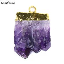 ShinyGem Natural Crystal Slice Pendants Irregular Druzy Raw Purple Crystal Pendant DIY Jewelry Charm Pendant Jewelry Making 1pcs