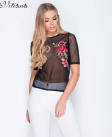 VITIANA Women 2017 Summer Beach Embroidery Short Top Tees Transparent Mesh Short Sleeve Tops Black Elastic