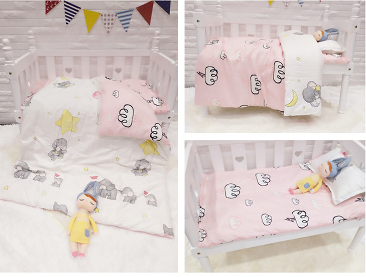 Promotion! 3PCS Cartoon crib baby bedding bed linen baby set 100% cotton crib quilt cover ,Duvet Cover/Sheet/Pillow Cover merry christmas linen bed throw pillow cover
