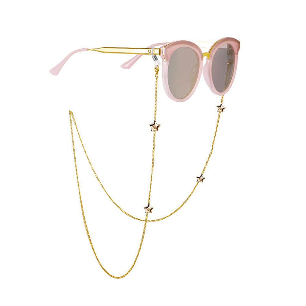 DSstyles Fashion Chic Womens Gold Silver Eyeglass Chains Sunglasses Reading Beaded Glasses Chain Eyewears Cord Holder Neck Strap