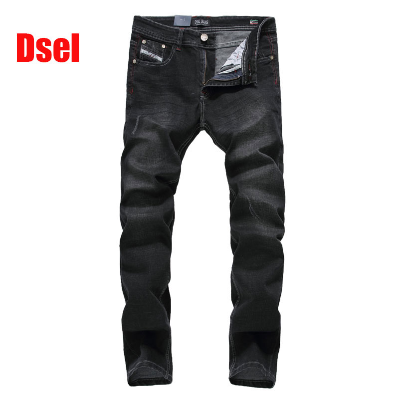 ФОТО 2017 New Dsel Brand Fashion Designer Jeans Men Straight Black Color Printed Mens Jeans Ripped Jeans,100% Cotton!707-2