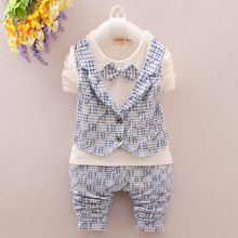 3colors Bow Tie Baby Boy Cloths Casual Kids Suits Spring/Autumn 2pces Sports Suits Cotton Kids Boutique Clothes 0-5 Ages