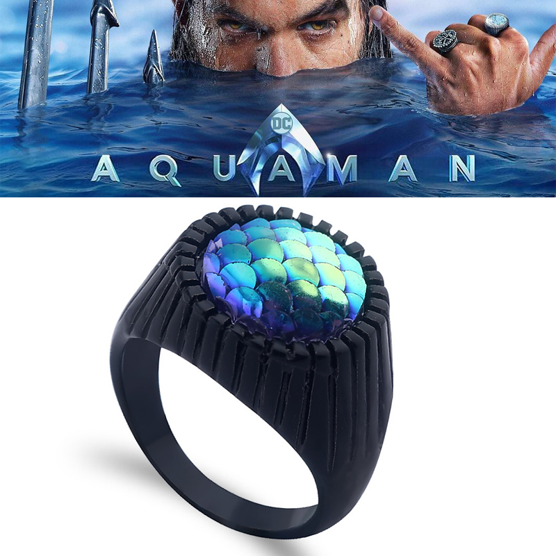 Movie Aquaman Alloy Ring Cosplay Props Women Men Halloween Christmas Gifts