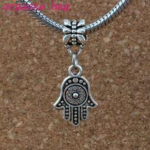 100pcs/lot Hamsa Hand Charm Big Hole Dangle European Beads Antique silver Fit Bracelet Jewelry DIY 12.2x31mm A-377a