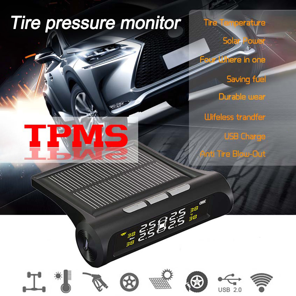 Car TPMS Tire Pressure Monitoring System Solar Charging HD Digital LCD Display Auto Alarm System Wireless