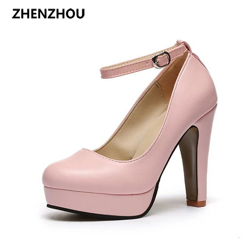 hot Free shipping Spring 2016 new European and American big yards fashion high heels shoes waterproof bandage thick with 10cm