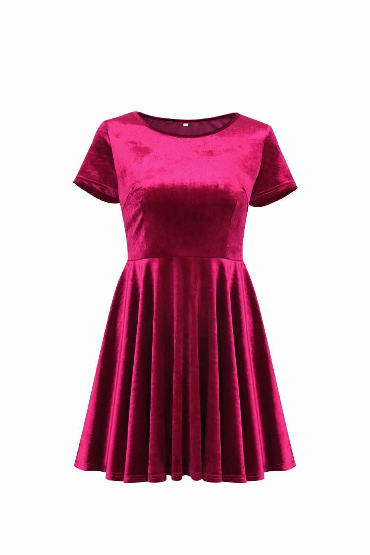 78c58696d2 ... BKLD 2018 New Arrival Spring Velvet Dress Women Red Blue Green Short  Sleeve Casual O-