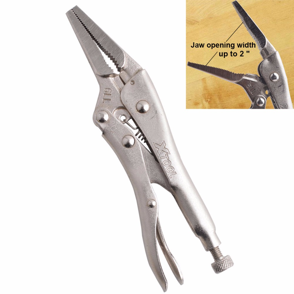 6.5inch/165MM CR-V Long Nose Vice Grip Locking Plier With Straight Jaw bosi tool 10 250mm curved jaw lock grip plier carbon steel silver tone