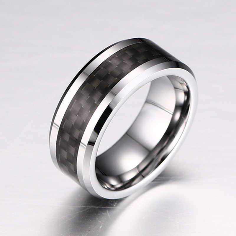 New Aço Inoxidável Anel De Fibra De Carbono Preto Prata Casal Anéis para Homens Mulheres Simples Masculino Jóias Acessórios Do Presente Do Partido