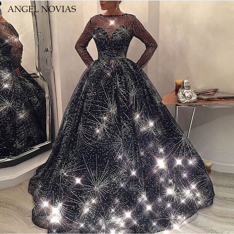 Long Sleeve Ball Gown   Evening     Dress   2018 Bling Bling Navy Blue Kaftan Dubai Formal Arabic Gown Robe De Bal Longue