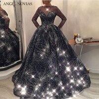 Long Sleeve Ball Gown Evening Dress 2018 Bling Bling Navy Blue Kaftan Dubai Formal Arabic Gown Robe De Bal Longue