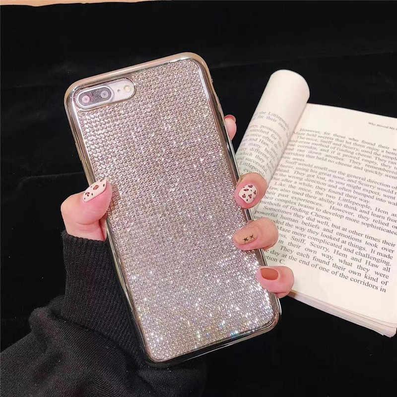 電話 Apple iphone × XR Xs 最大ブリンブリンラインストーンケースカバー iphone 7 8 6 6 s プラスソフト TPU 電話 Coque