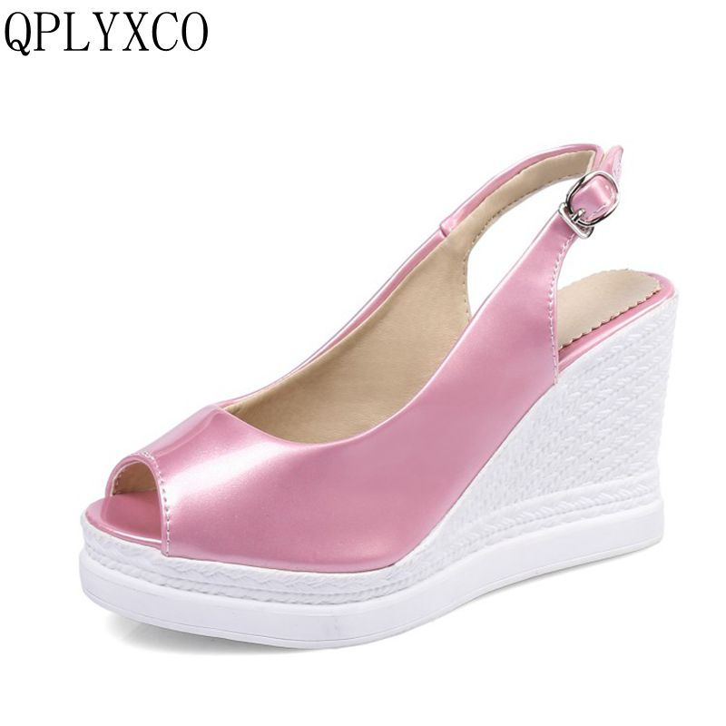 QPLYXCO New Sale Plus Big size 34-43 Women shoes wedges high heels sandals Summer Shoes woman Platform sweet zapatos mujer C9-11 qplyxco 2017 sale big