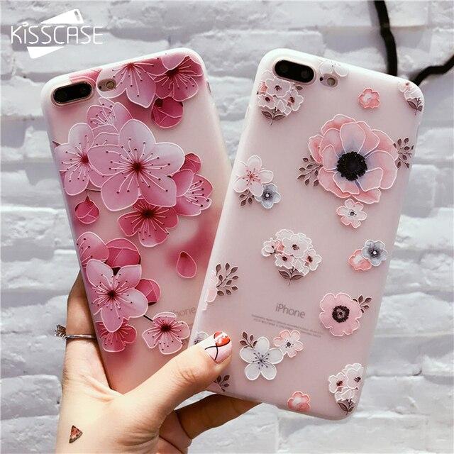 Kisscase цветочным рисунком чехол для iPhone 6 S 7 плюс Чехол Мягкий силиконовый Floral Protect крышка для iPhone 7 7 Plus Телефонные чехлы