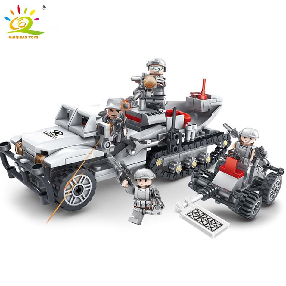 393 + шт полу-трекер D-23 разминированию автомобилей Грузовик строительные блоки, совместимые Legoed военные Кирпичи игрушки для детей для мальчи... ...