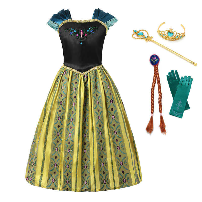 YOFEEL Girls Anna Elsa Princess Coronation Party Cosplay Costume With Crown Wig Suit Embroidery Summer Dress Halloween Dress Up 2014 costume adult elsa cosplay elsa the snow queen coronation outfit halloween costume for women fantasy dress free crown
