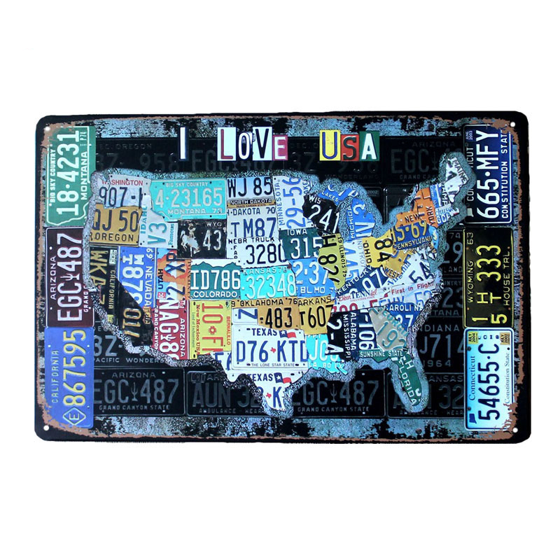 Country Car Plates USA Route 66 MAP Vintage Tin Sign Bar Pub Home Garage Wall Decor Retro Metal Art Poster Plaque 30x20cm A881