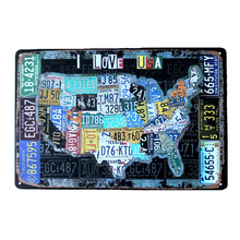 Car License Plates USA Route 66 Map Vintage Tin Sign Bar Pub Home Garage Wall Decor Retro Metal Art Poster Plaque 30x20cm A881