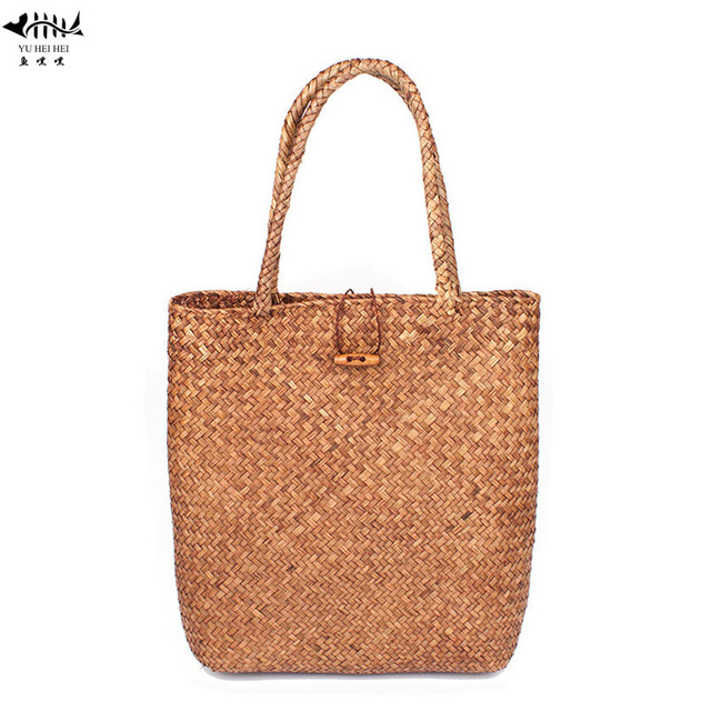 Large Women s Woven Handbag Straw Beach Tote Bag Classic Summer Weave  Shoulder Bags free shipping 387c9961cf804