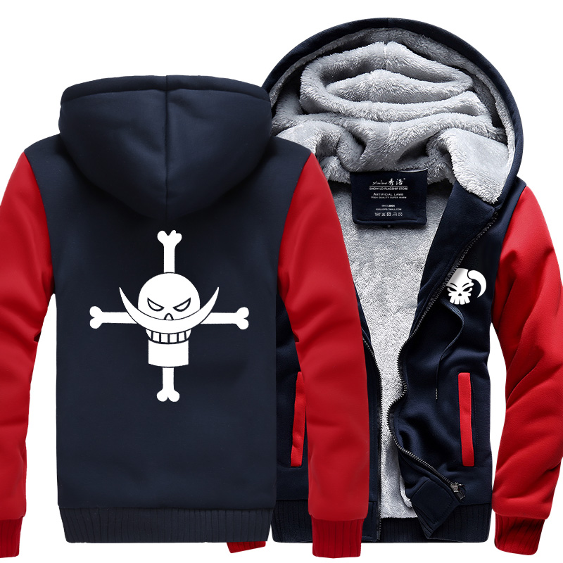 Anime One piece Monkey <font><b>D</b></font> Luffy sweatshirt men <font><b>2019</b></font> spring winter men jacket fashion thick hoodies coat men hip hop Skull hoodie image