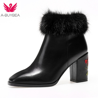 Women's Shoes Cow Leather fashion Embroider Sexy Women Boots Winter High Heels Snow Fur Ankle Boots Fall Ladies Short Boots