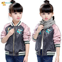 New Arrival 2017 Girls Baseball Clothing Spring And Autumn Girls Coats And Jackets Children Embroidery Fashion