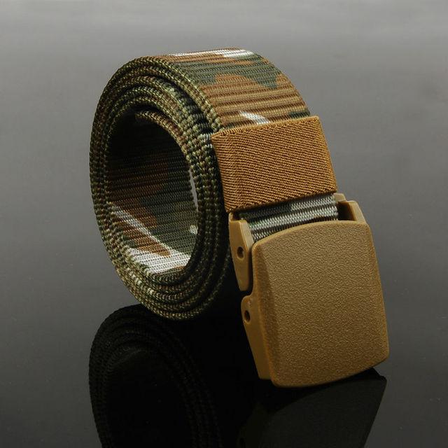 Cinturón de Correas de Los Hombres de Alta Calidad de la Lona de camuflaje Al Aire Libre Militar Equipo Táctico Cinturón de Hebilla De Plástico